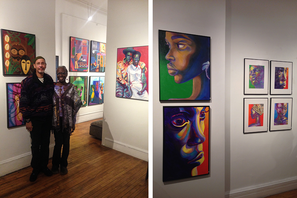 With  gallerist  Kim Hamilton at his recent exhibition at Hamilton Landmark Gallery in Harlem. Featuring works from his  People of Color ,  Adinkra  and  Romance  series, he sold over a dozen works of art.