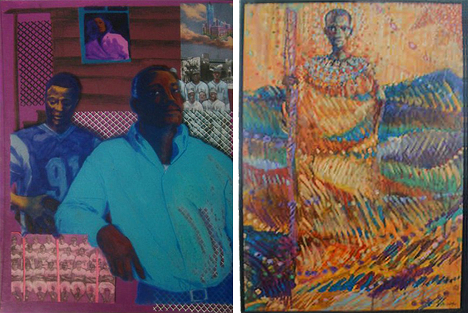 From  August Wilson's Century Cycle: A Visual Representation,  characters from the play,  Fences, Troy Maxson and his son, Cory represent the 1950's. (left)  Masai Passages,  acrylic on canvas, (right) was created during  The Moving Form,  Jimmy's live  performative  collaboration with musician friends Baba Andrew Lamb and Wil Halsey. As the musicians play, Jimmy creates, free-hand, an impromptu artwork.