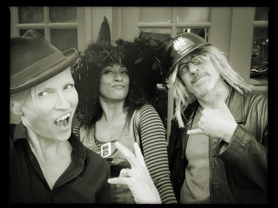 Halloween at Bar Sepia. Delissa and Elia with photographer, Gigi Stoll.