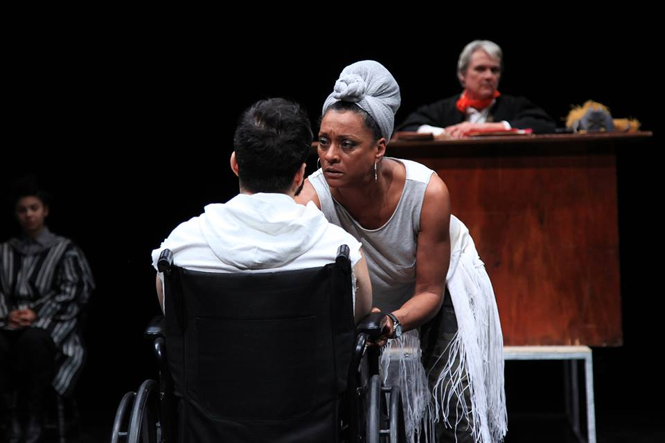 As Saint Monica with Judas (portrayed by Gabriel Furman) in  Last Days of Judas Iscariot.  Photo:  LaMama Experimental Theatre Club