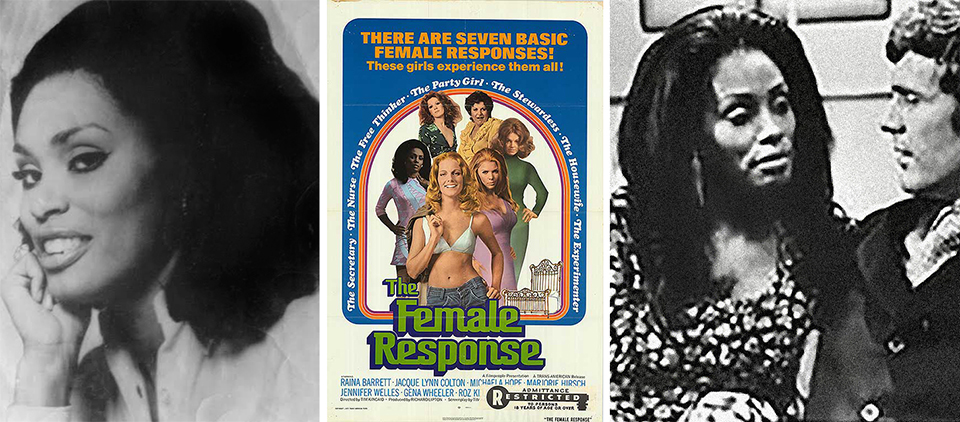 """Gena Wheeler's headshot—Delissa's favorite pic of her mom; the movie poster for  The Female Response , with ensemble billing;and a publicity still of """"Victoria"""" in a scene from the film."""