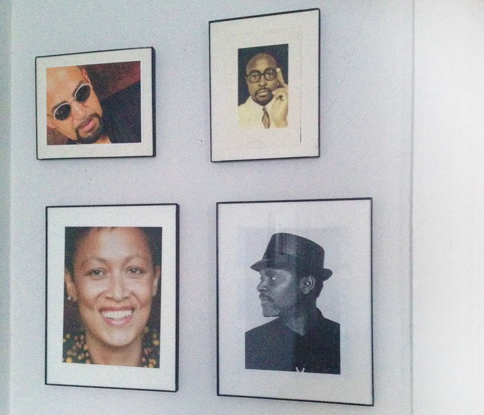 One wall, hung with framed photographs of friends, Jerry Gonzalez, Todd Johnson, Marpessa Dawn Outlaw and Sekou Sundiata provides ancestral creative inspiration.