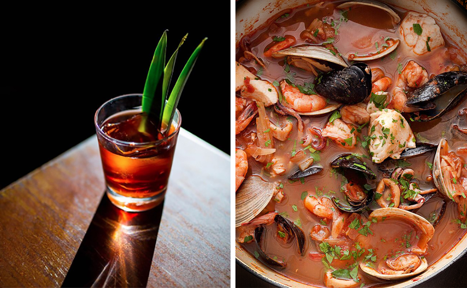 Cocktail by Elliott Clark at  Apartment Bartender .Cioppino from  The Daily Mea l.