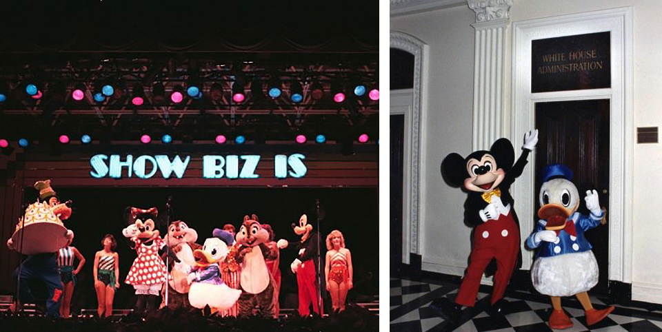 Goofy brings out the birthday cake for Donald's 50th birthday during  Show Biz Is  in 1984 . Mickey and Donald visit the Eisenhower Executive Office Building which houses most of the offices for White House staff. Photos courtesy of Clay Rivers.