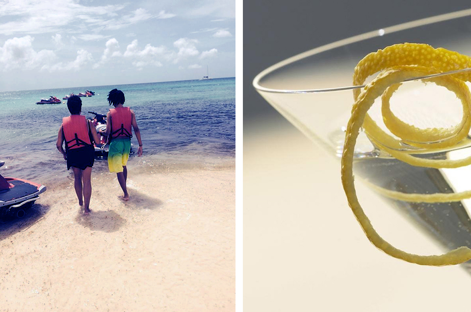 The Crofts in Aruba: Barbara and Chase head to jet ski, documented by Monte.And a classic libation.