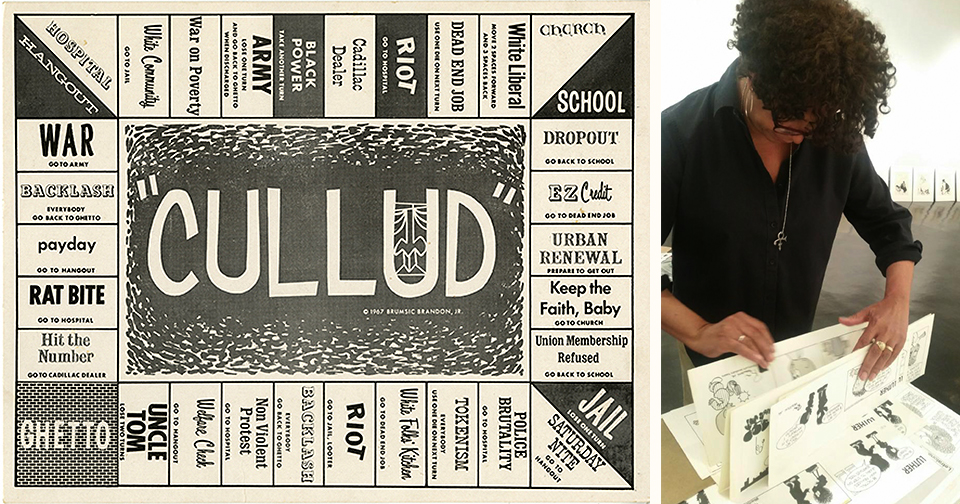 """""""CULLUD,"""" the board game, """"anyway you play it, you lose..."""" ©Brumsic Brandon, Jr. Art Trust. Barbara preparing the exhbition. Photo courtesy  Medialia Gallery."""