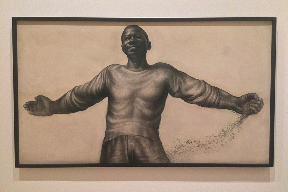 From   Charles White: A Retrospective     at MoMA.:  O Freedom,  1956 Charcoal with crayon, erasing, stumping, and wash, on ivory illustration board. Courtesy Rennie Collection, Vancouver.