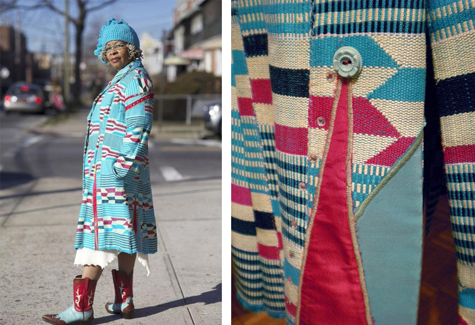Photographed by Ari Seth Cohen for his popular site,  Advanced Style , Lois Kinley wears a coat bearing all the hallmarks of a Cassandra Bromfield bespoke creation, with patchwork, beading and embroidery.
