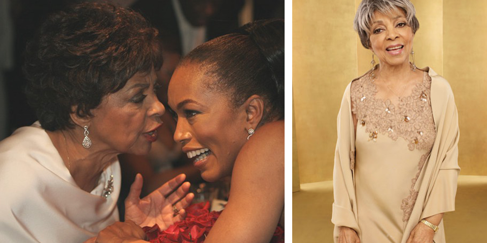 "Ruby Dee, elegantly swathed in four-ply silk designs by Cassandra Bromfield. A vision in white, she speaks with Angela Bassett at  Oprah's The Legends Ball  in 2005.. On the night she won Outstanding Performance by a Female Actor in a Supporting Role for  American Gangster  as ""Mama Lucas"" at the 14th Annual Screen Actor's Guild Awards, she wore an embroidered lace-trimmed, silk bias-cut gown embellished with colored pearls, mother of pearl leaf beads and amber quartz beads."
