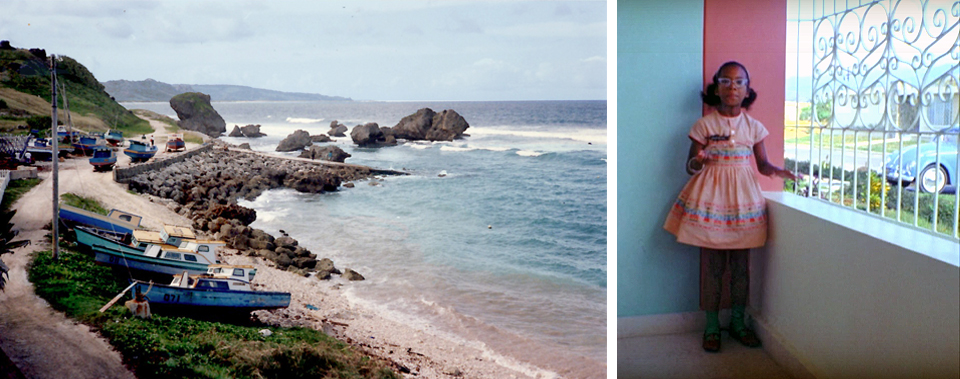 "Left, St. Vincent, in the 1990s when the family made a ""Roots"" pilgrimage to lay a stone on Amy Bromfield's grave. Right, Cassandra during her Puerto Rico residency. These Caribbean pops of color, aqua and coral, will recur in the color palette of her adult home. Photos courtesy of Cassandra Bromfield."