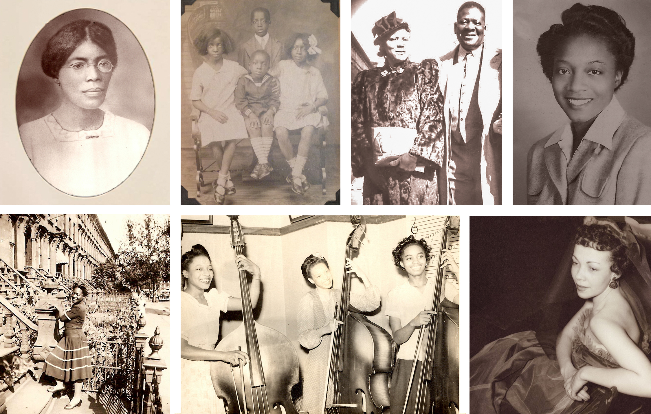 "Clockwise: Elaine's mother, Amy Matthews of St. Vincent; the Matthews children: Hulda, ""Sammy"", M. Elaine and little Wilmoth; Cora and Samuel ""Poppy"" Matthews; Beautiful Elaine; Sammy's glamorous wife, Leonora ""Nona"" Matthews; Elaine leads the bass section at Washington Irving High School in 1941; Elaine stands in front of the family's MacDonough Street brownstone in Bedford-Stuyvesant, Brooklyn (she was never one to claim the moniker ""Bed-Stuy""). Photos courtesy of Cassandra Bromfield."