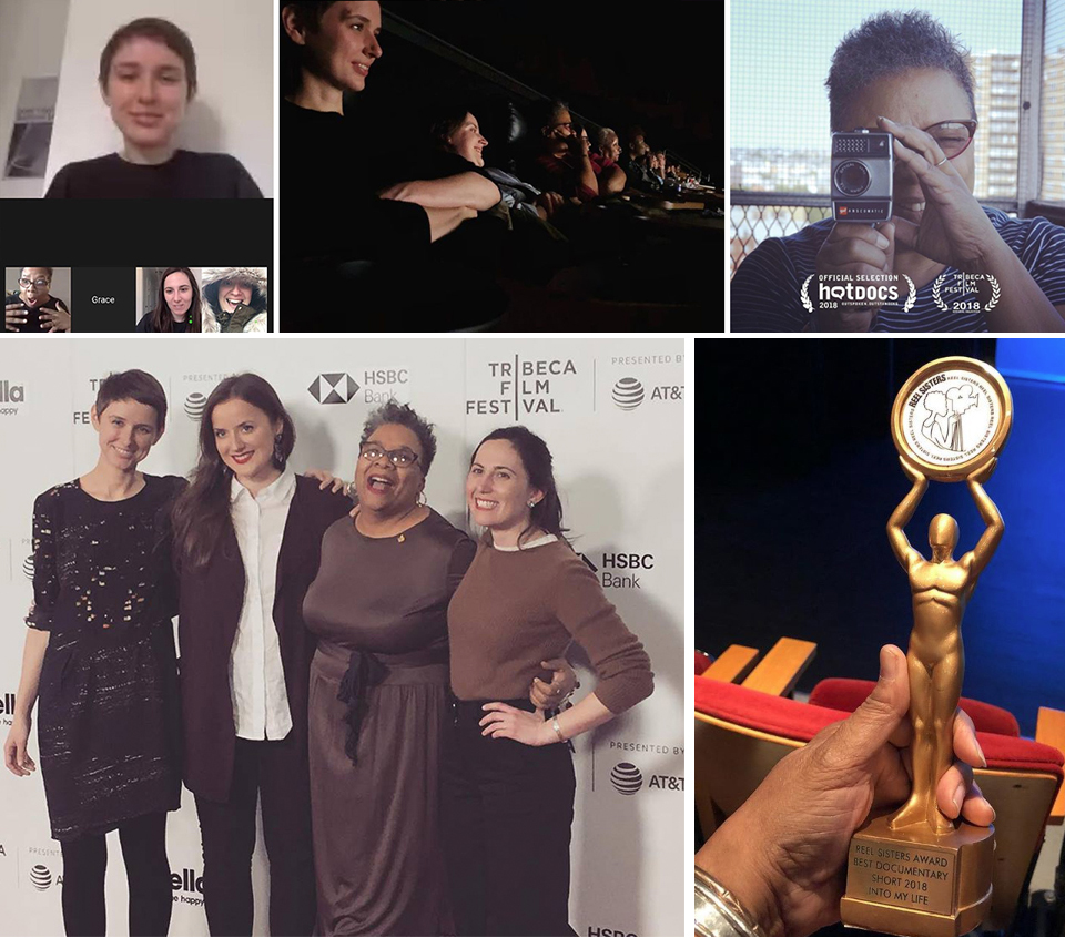 Cassandra's reaction upon learning that  Into My Life  would debut at the Tribeca Film Festival; the filmmaking team enjoy the premiere; Cassandra on the terrace with Mom's old Suoer 8; the Reel Sisters award statuette; and the filmmakers on the red carpet at Tribeca.