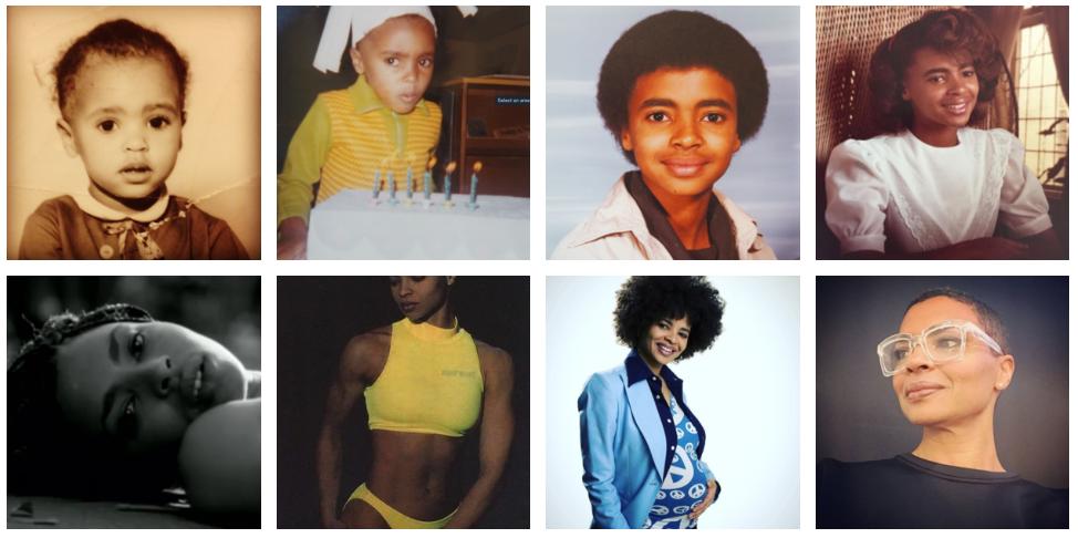 Baby Karen: giving fierce gaze at six; 70's fro; 80's flip; young video star; giving killier abs in her 20's; mama-to-be; confident artist/entrerpreneur. Photos courtesy of Karen Gibson Roc.
