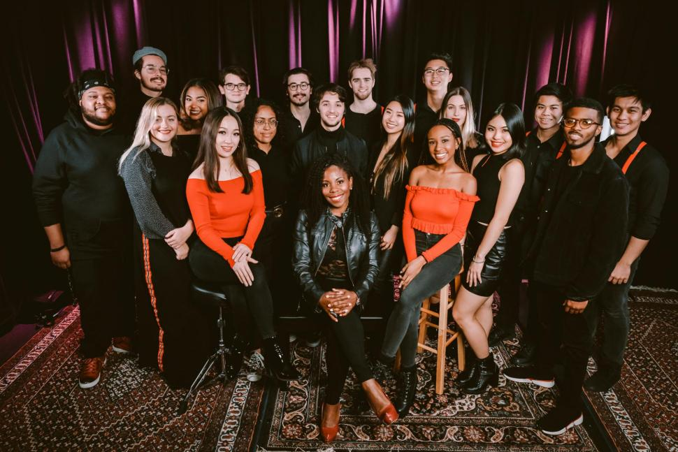 Tia with the members of the Berklee School of Music Ariana Grande Ensemble. Photo by Ariff Danial.