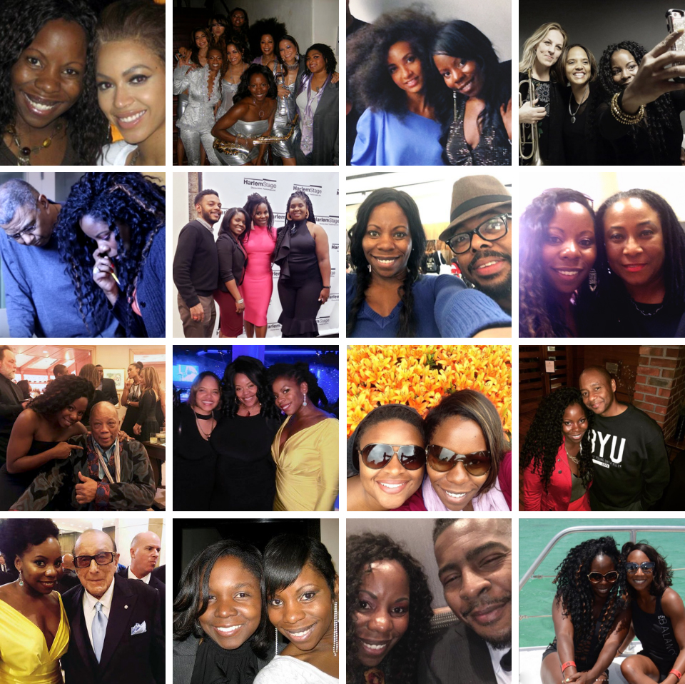 Tia and… Top row: Beyoncé; the women of Suga Mama; Esperanza Spalding; Ingrid Jensen and Terri Lyne Carrington. 2nd row: Jack DeJohnette; Mark Whitfield, Jr., Shamie Royston and Endea Owens; Christian McBride; Geri Allen. 3rd row: Quincy Jones; Terri Lyne Carrington and Publicist, Gwendolyn Quinn; Lizz Wright; Branford Marsalis. 4th row: Clive Davis; Shamie Royston; Roy Hargrove; her bestie, Margo Davis.