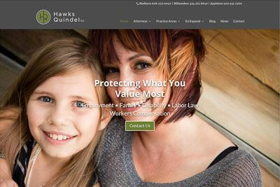 Website for Hawks Quindel, S.C., a Madison, WI law firm