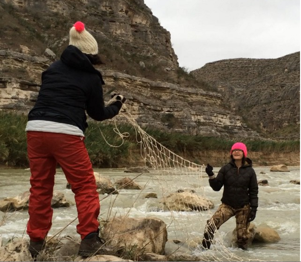 Here we are making the net in the Rio Grande River near Bone Water Canyon.