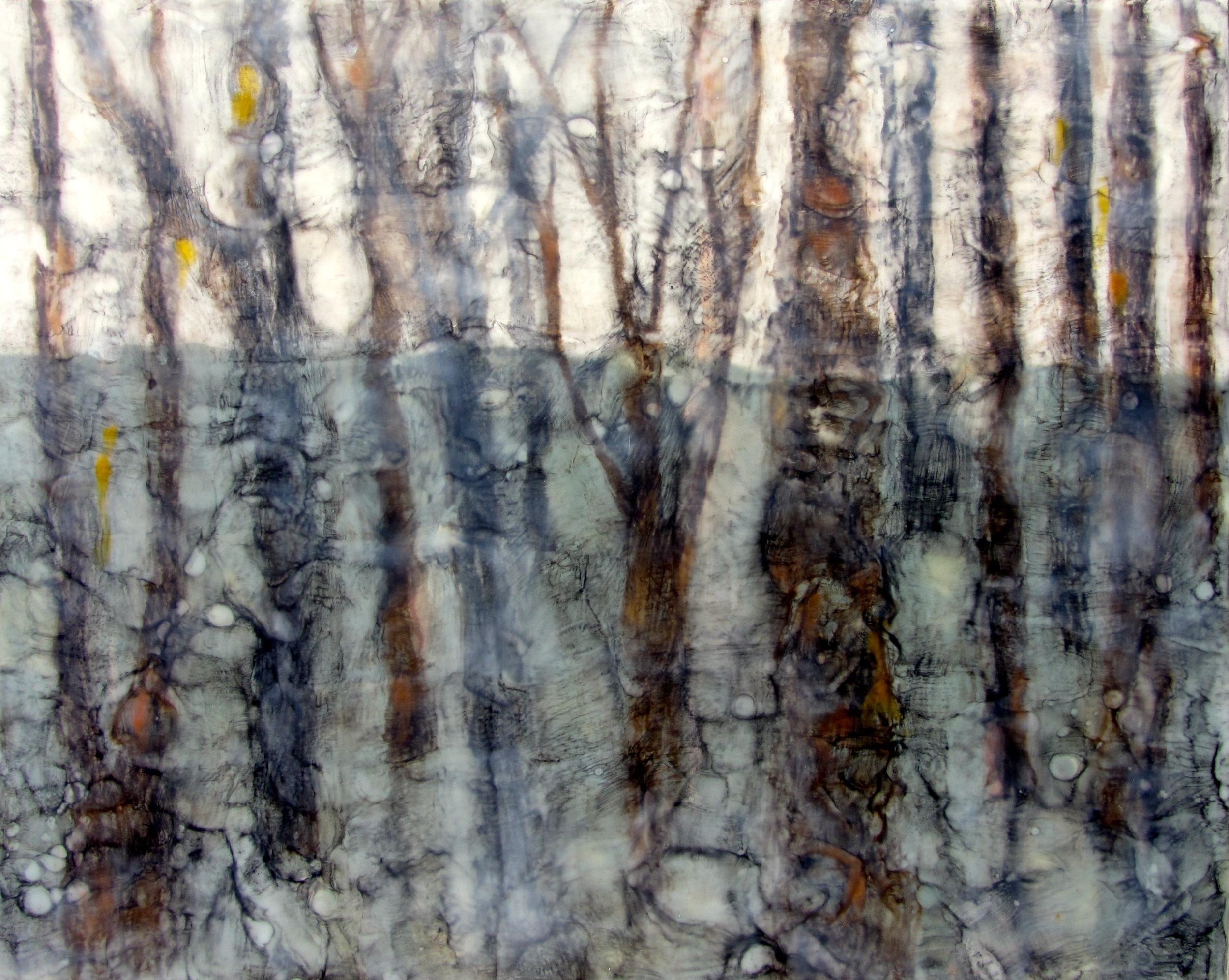 "Winter Forest, Encaustic, 24"" x 30"", $1200."