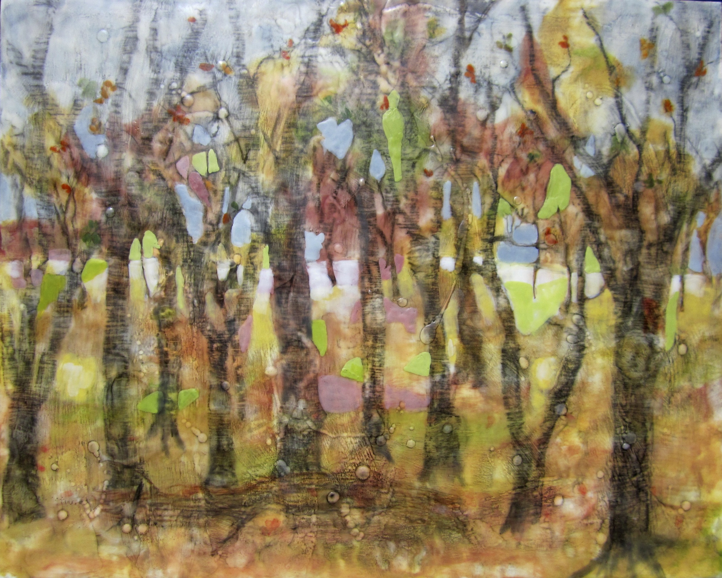 "Enchanted Forest, Encaustic, 24"" x 30"", $1200."