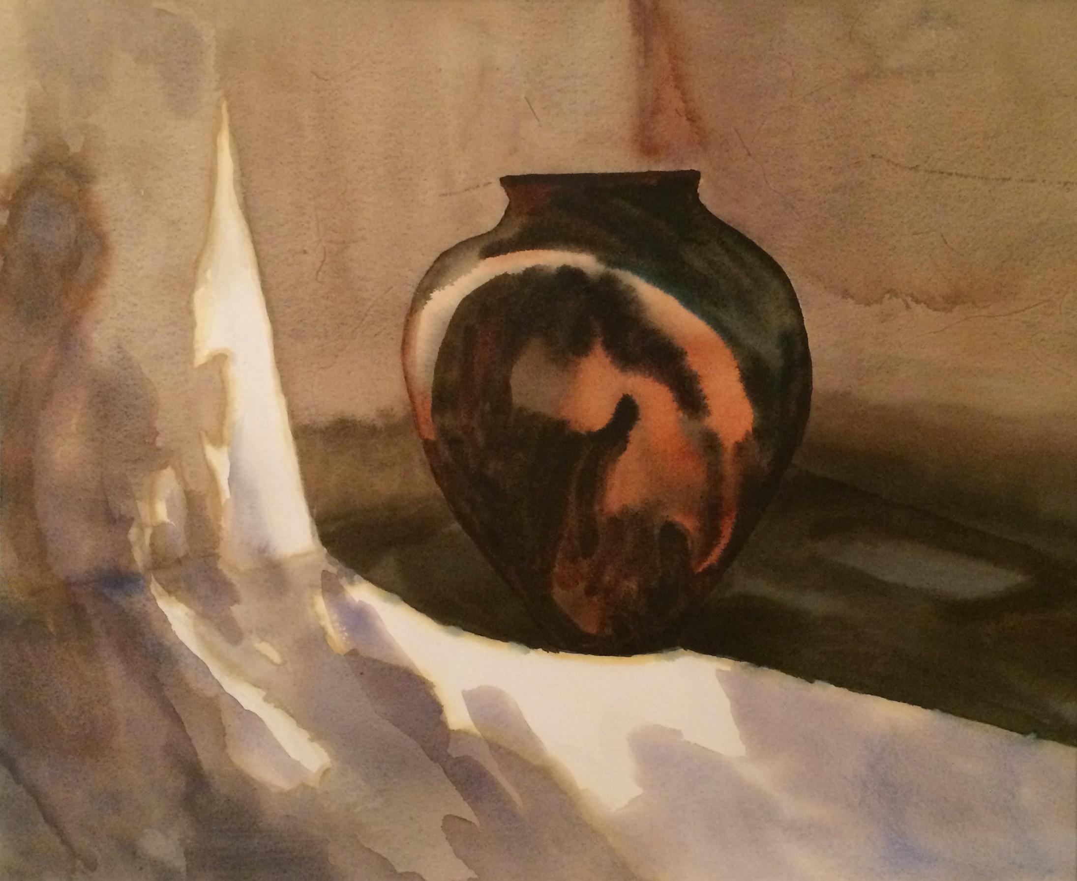 "Vessel, Watercolor, 25"" x 28"", $900."