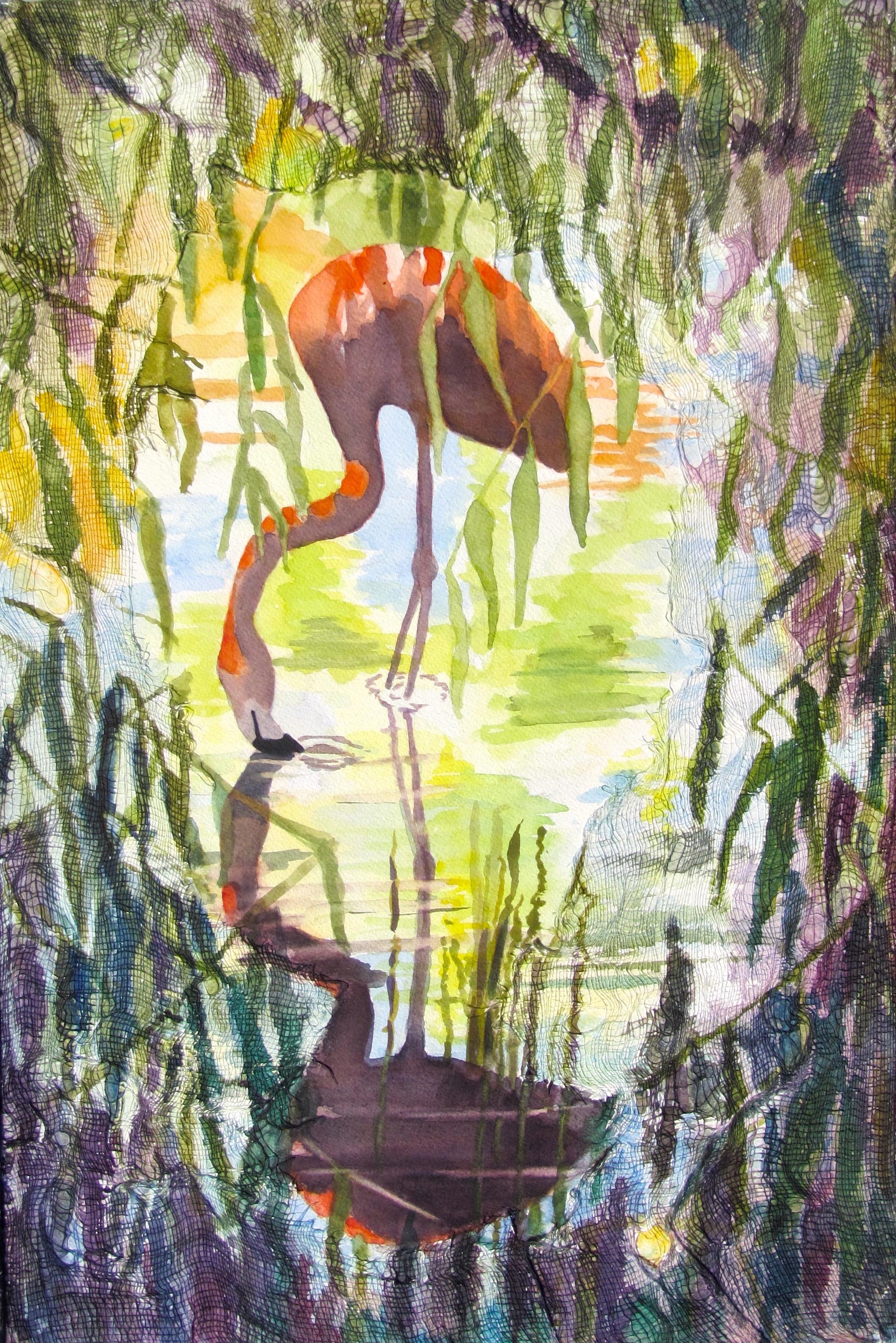 "Flamingo, Watercolor on gauze, paper, 20"" x 13"", $550."