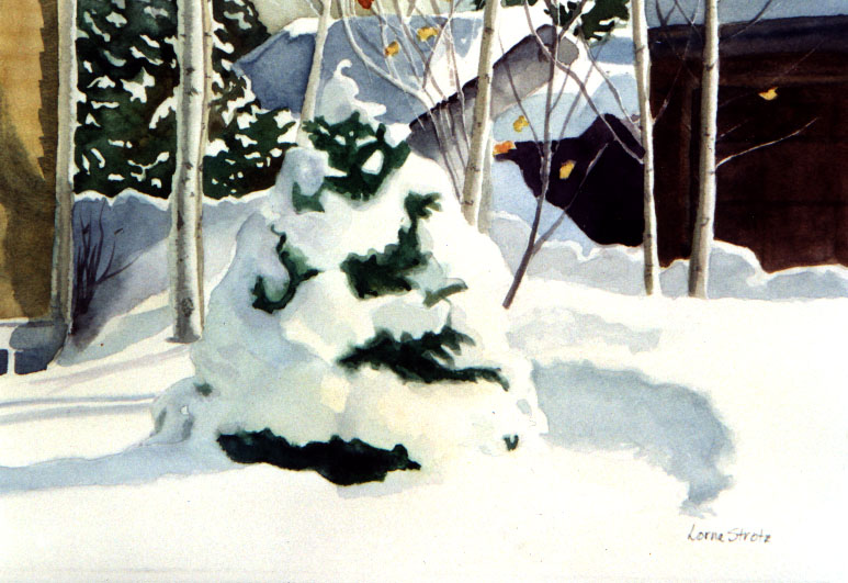 "Sunny Snow Day, Watercolor Giclee, 13"" x 20"", $100."