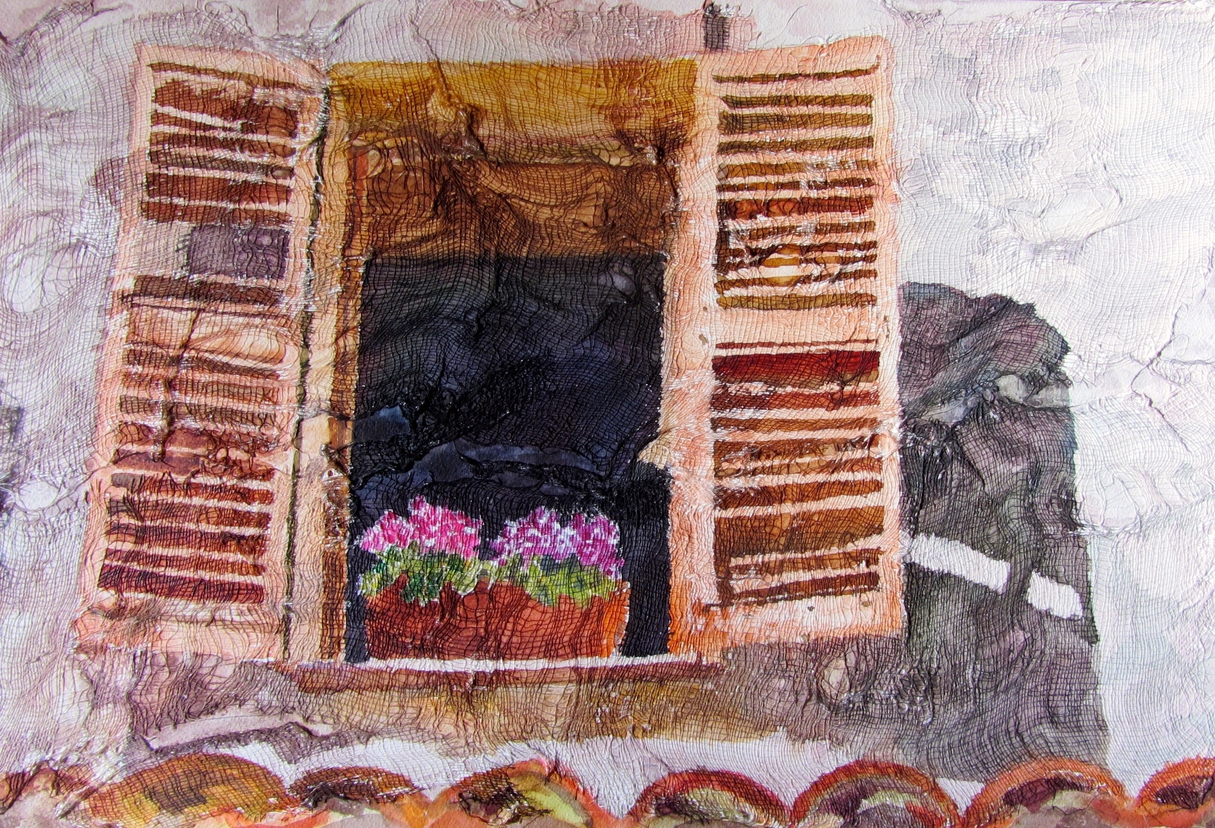 "Window, Watercolor on gauze and paper, 13"" x 20"", $550."
