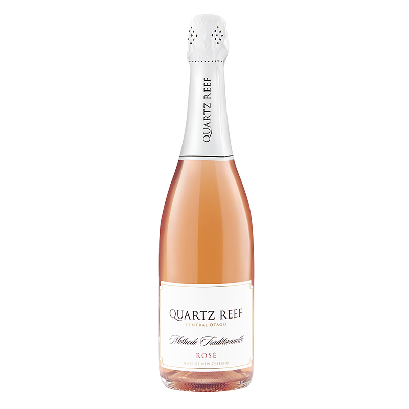 Quartz Reef Methode Traditionelle Brut Rosé  - Bright Stella cherry red. Intense, lush pure Pinot Noir, dry, vibrant and lingering.