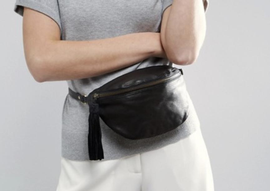 Shop  Asos Black Leather Fanny Pack