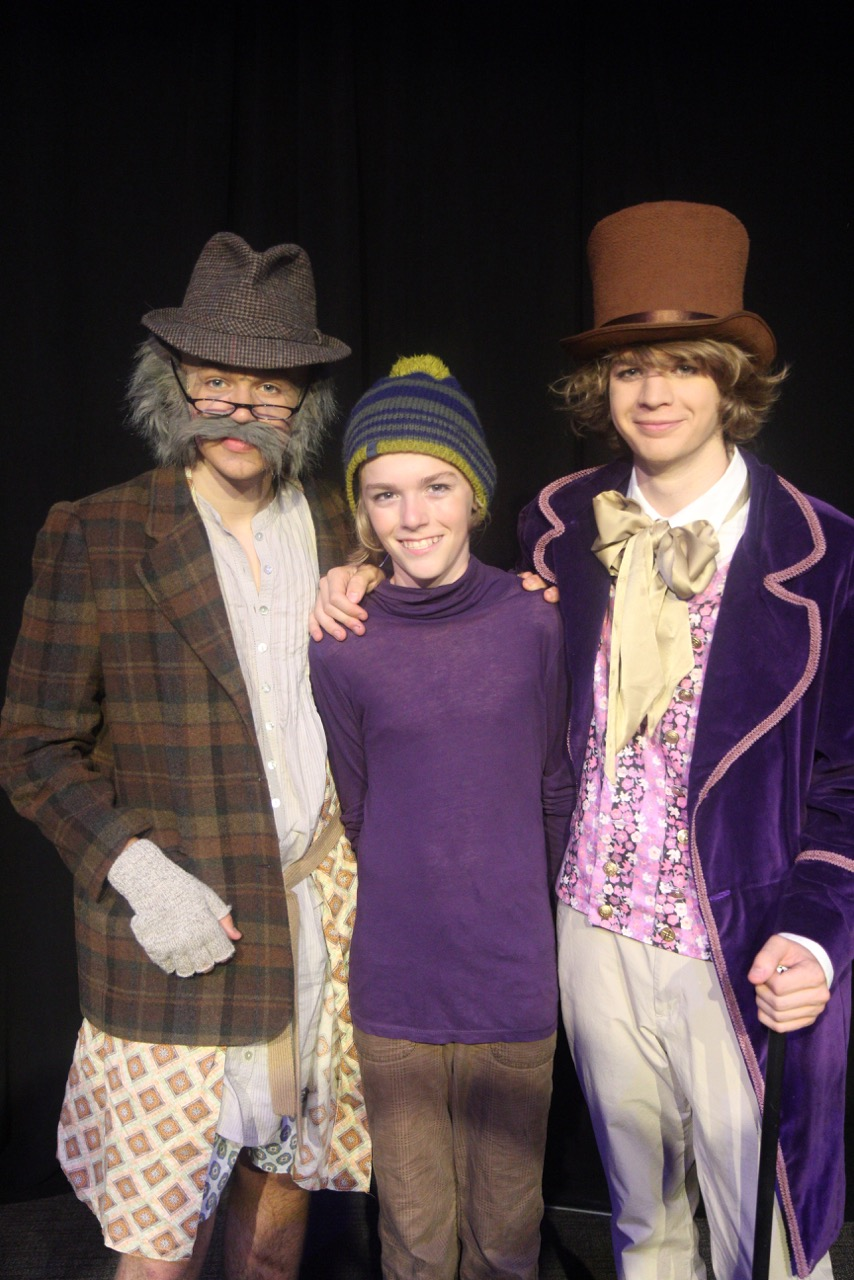 Grandpa Jo (Noah Pope), Charlie (Eden Joel) and Willy Wonka (Asher Pope)