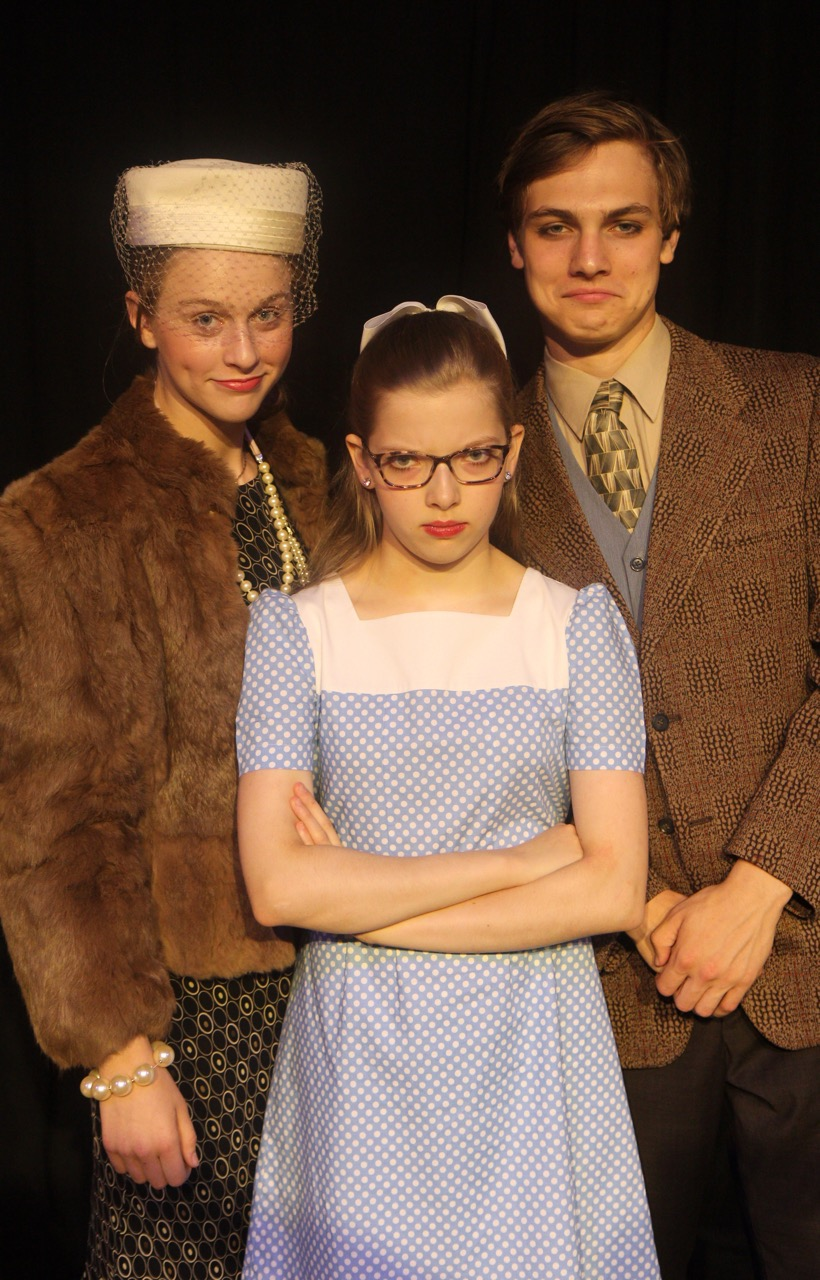 Mrs. Salt (Millie Snow), Veruca Salt (Maddie Farley) and Mr. Salt (Johnathan George)