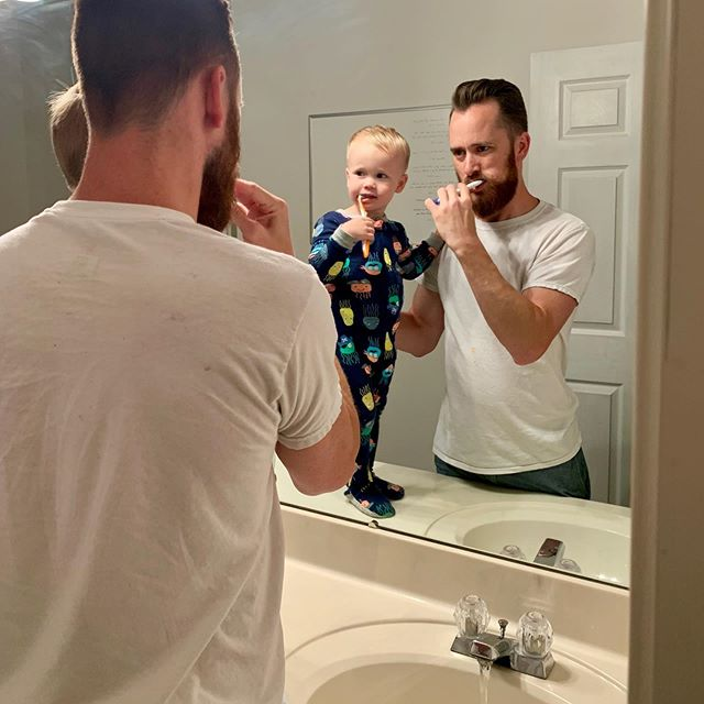 "Ryker loves to brush his teeth. Second photo is when Ryker said ""Cheeers!""😂🥰"