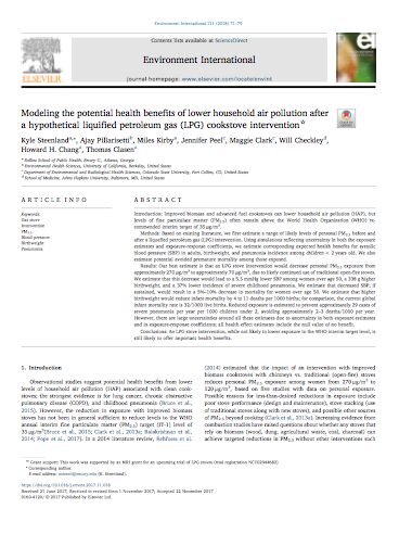 Modeling the potential health benefits of lower household air pollution after a hypothetical liquified petroleum gas (LPG) cookstove intervention