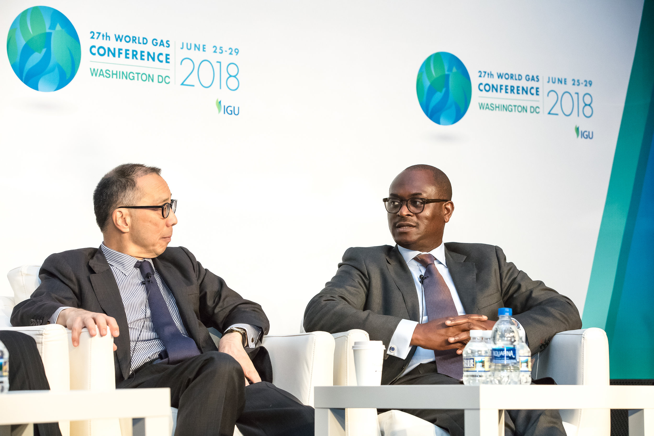 KIMBALL CHEN, CHAIRMAN OF GLPGP (LEFT) AND DAYO ADESHINA, PROGRAMME MANAGER OF THE NATIONAL LPG EXPANSION PLAN, FEDERAL REPUBLIC OF NIGERIA (RIGHT) SPEAKING AT THE 'LPG - THE GATEWAY TO NATURAL GAS' SESSION AT THE WORLD GAS CONFERENCE ON JUNE 29, 2018
