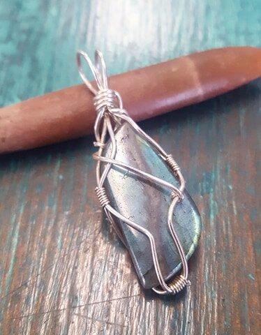Labradorite Stone Wire Wrapped Necklace Silver Colored Wire Necklace