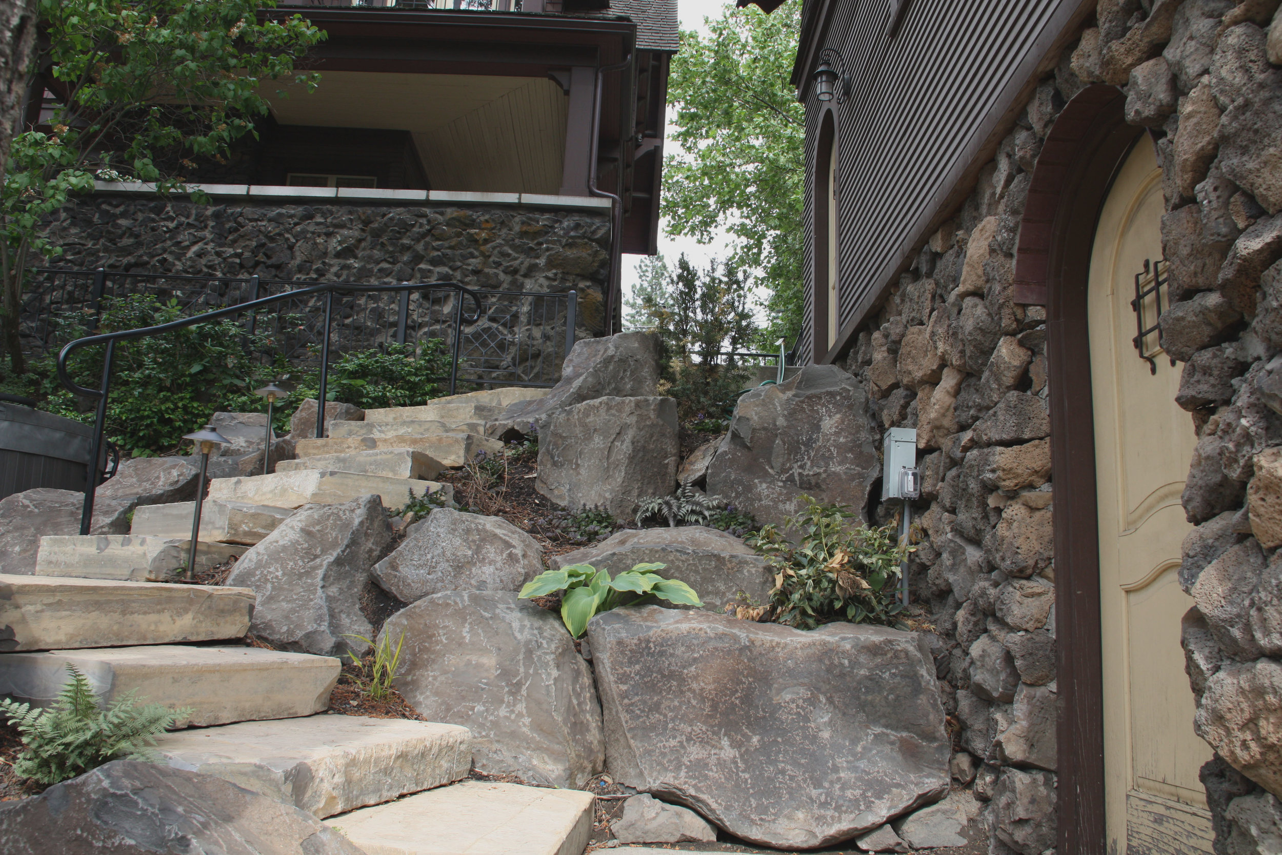 spokane rock steps and boulder walls
