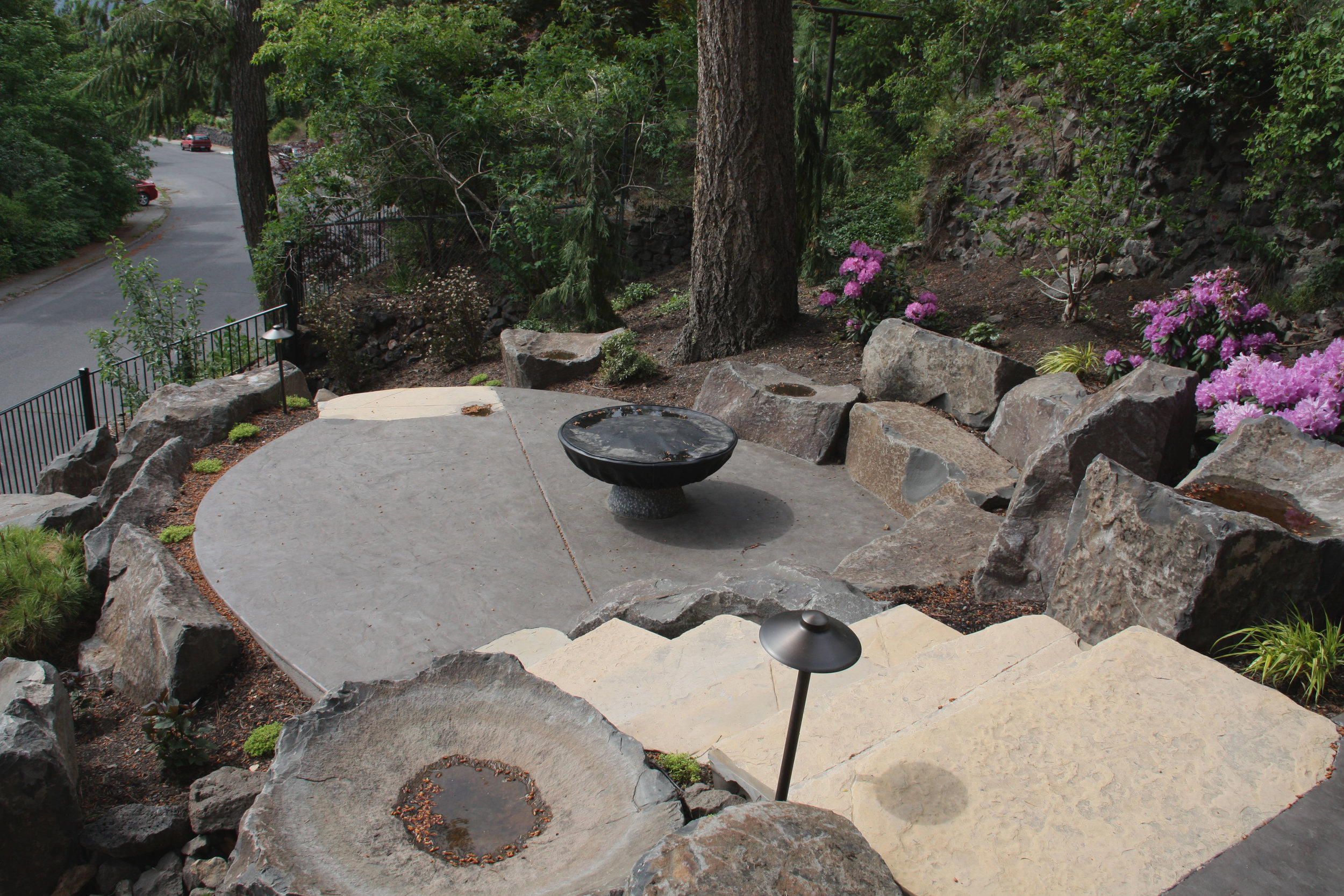 fire pit with basalt seat rocks