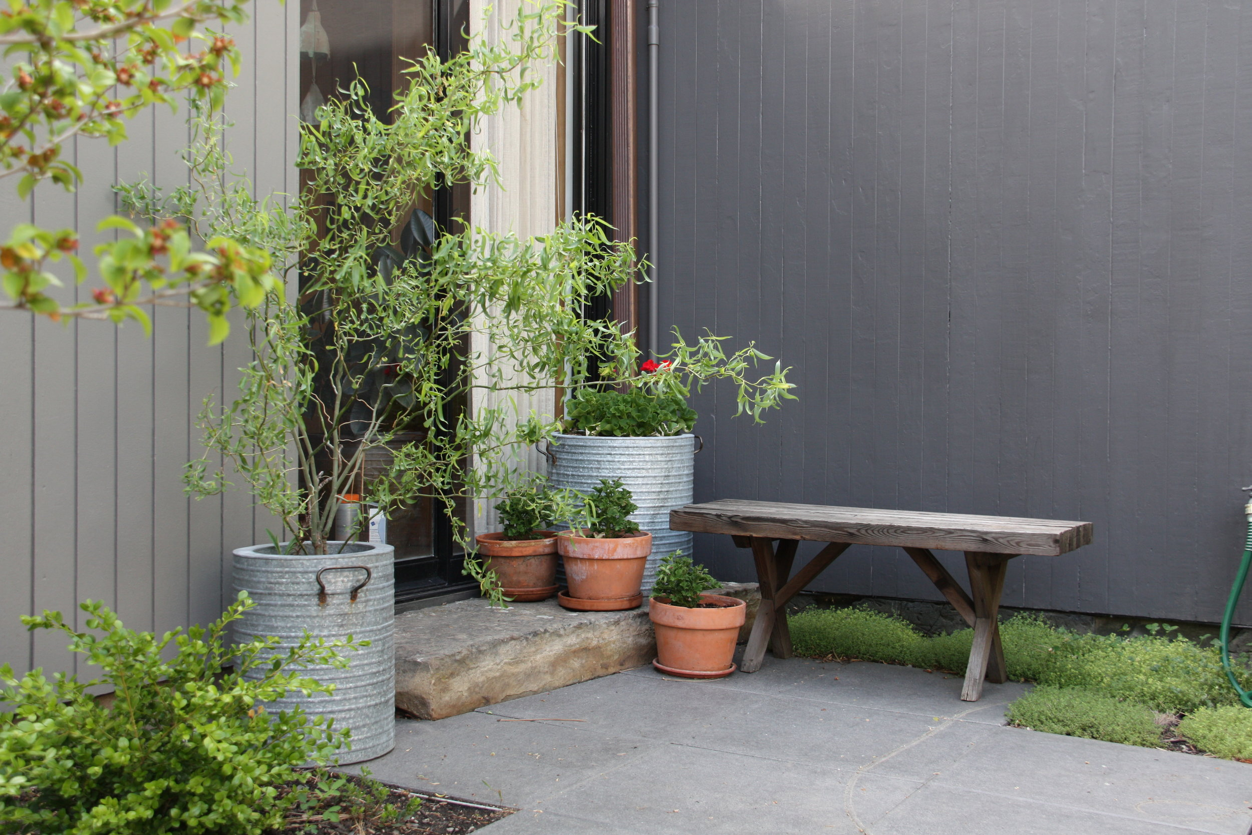 natural stone step entry with pots