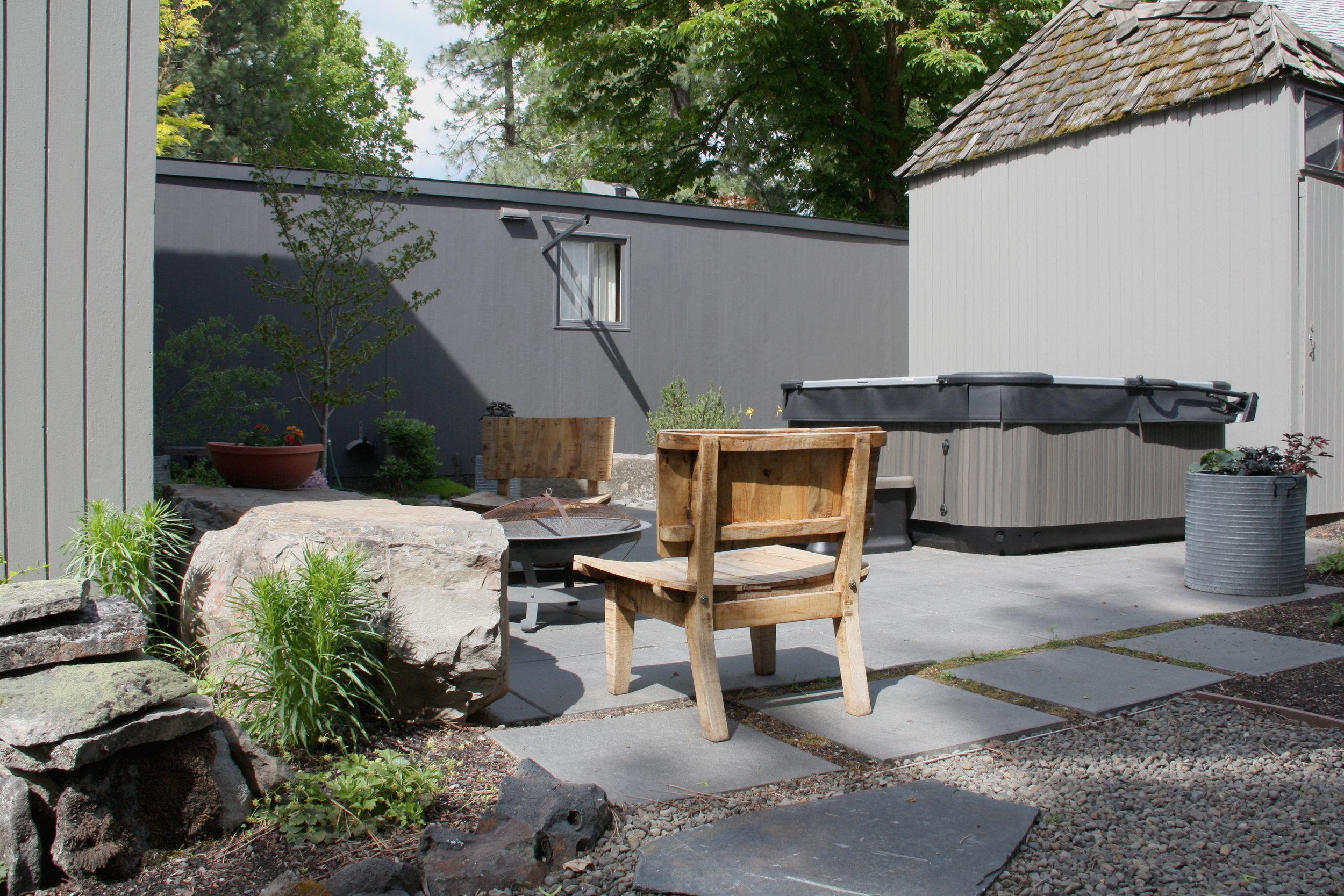zen patio and hot tub