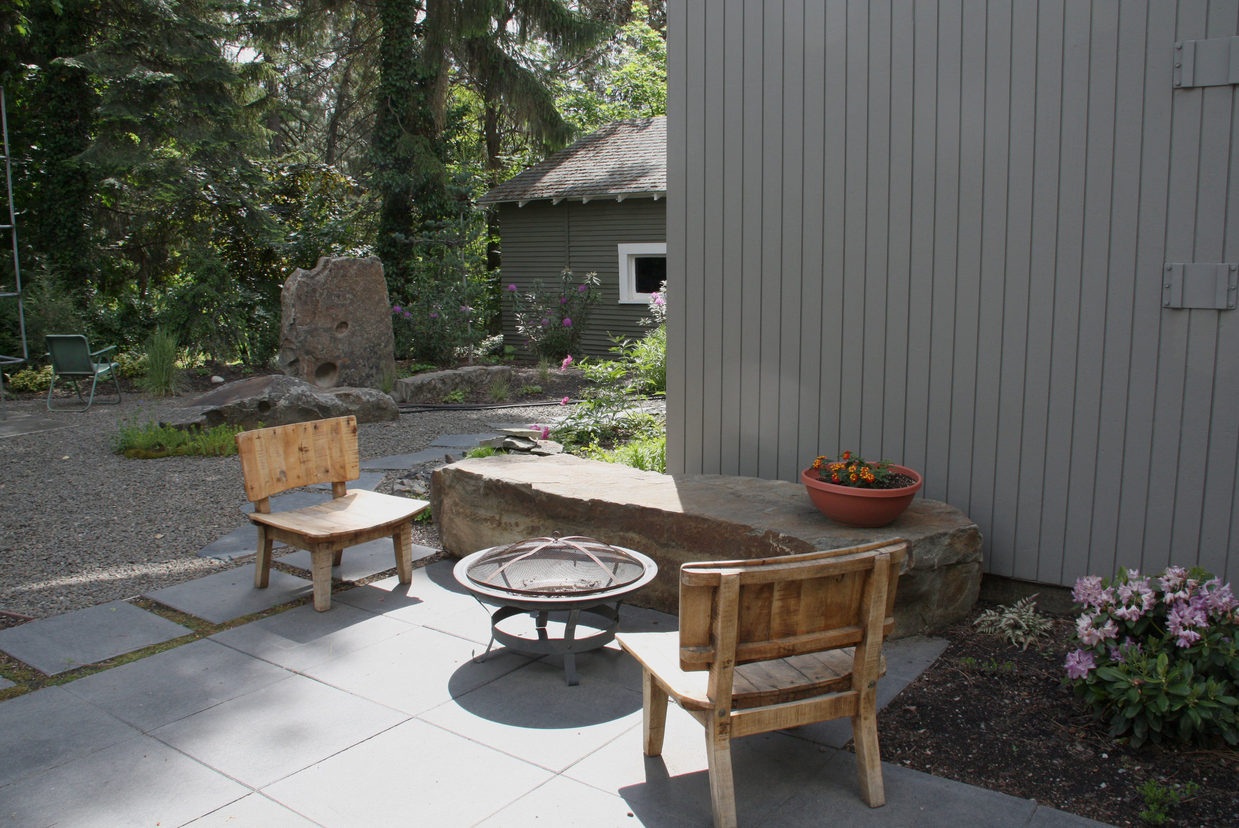bench rock and fire pit