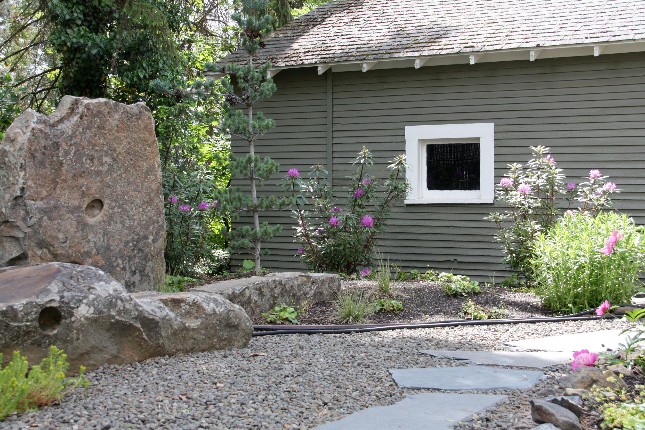 boulder sculpture zen garden