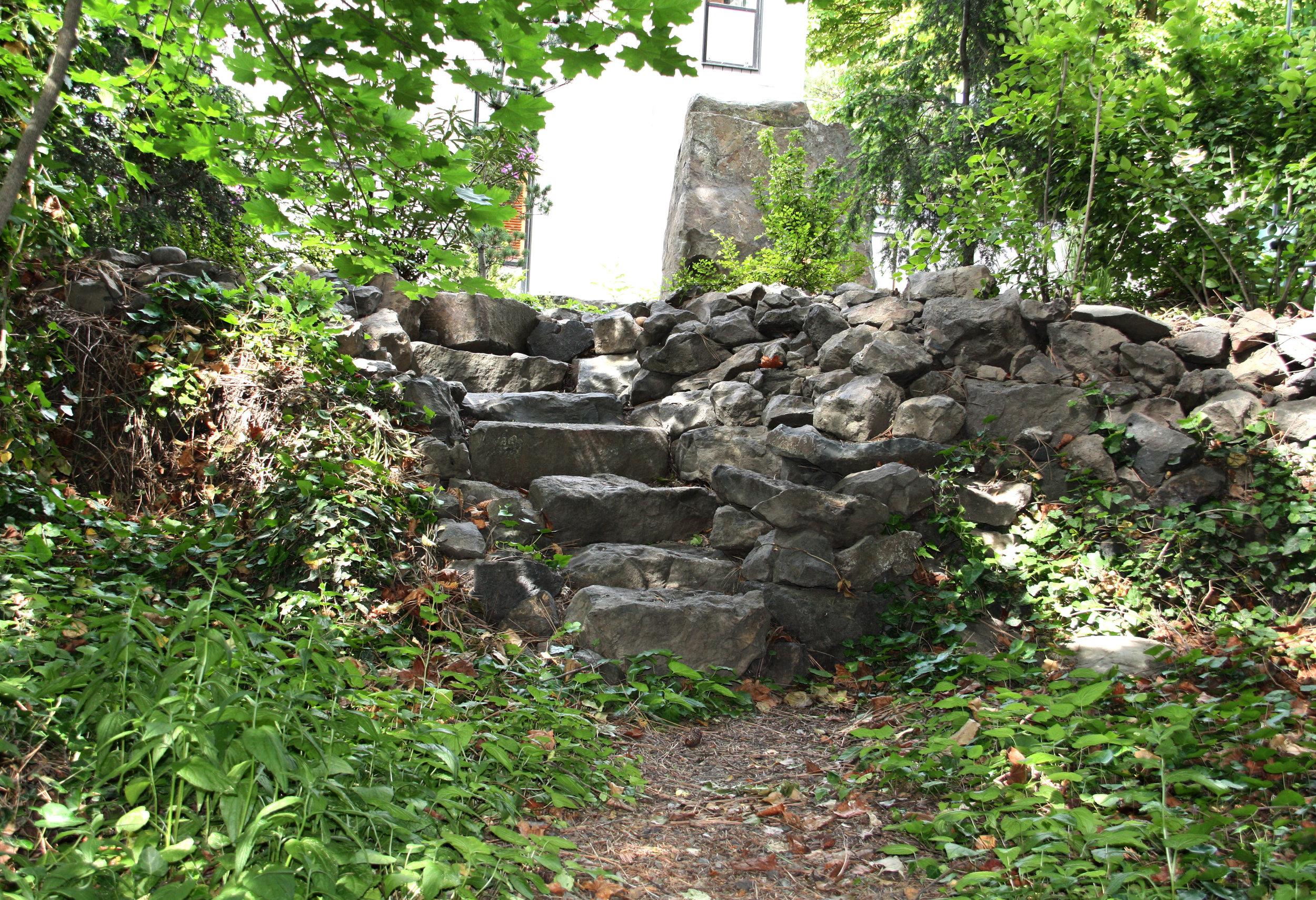 natural boulder stairs