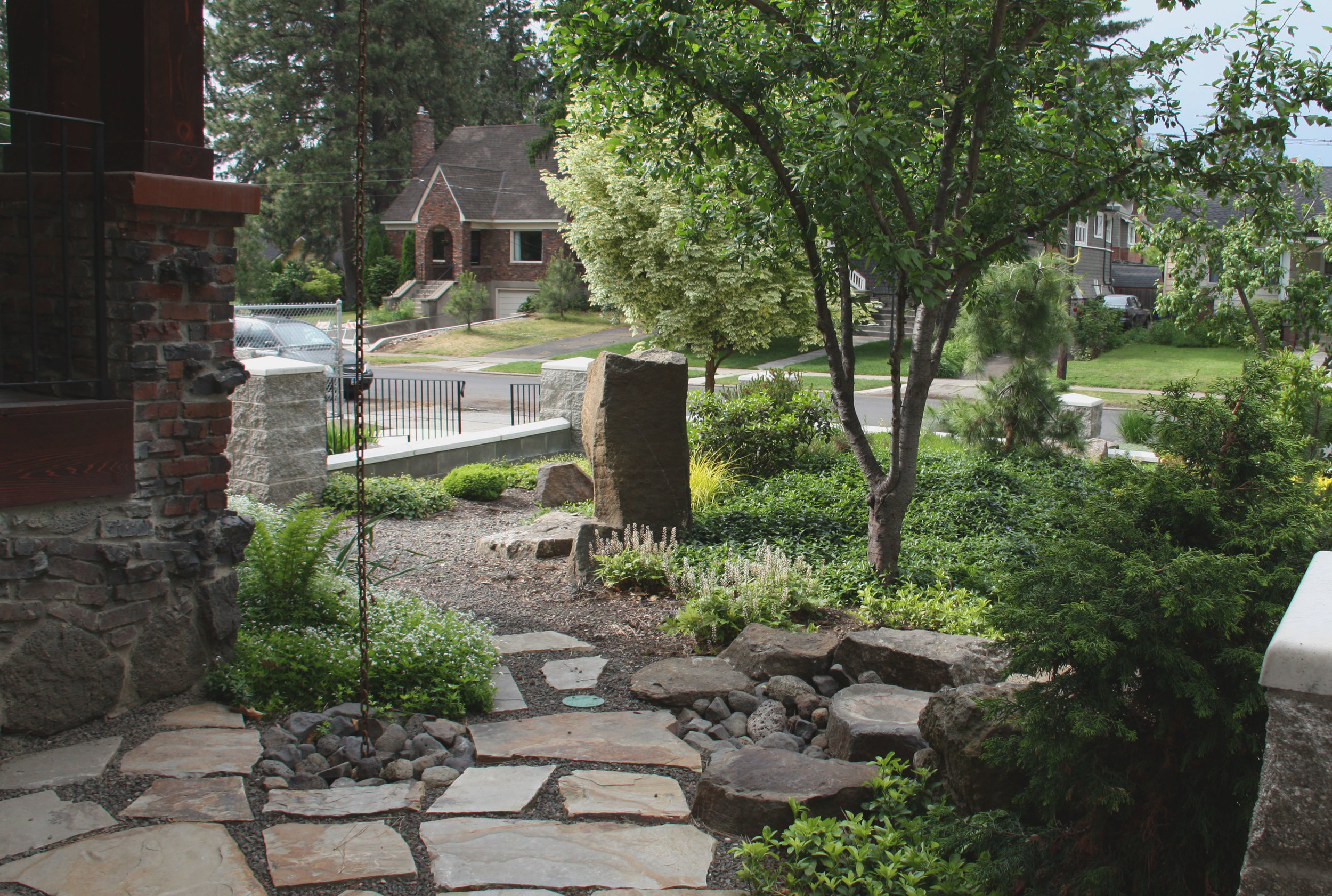 flagstone path and rain chain
