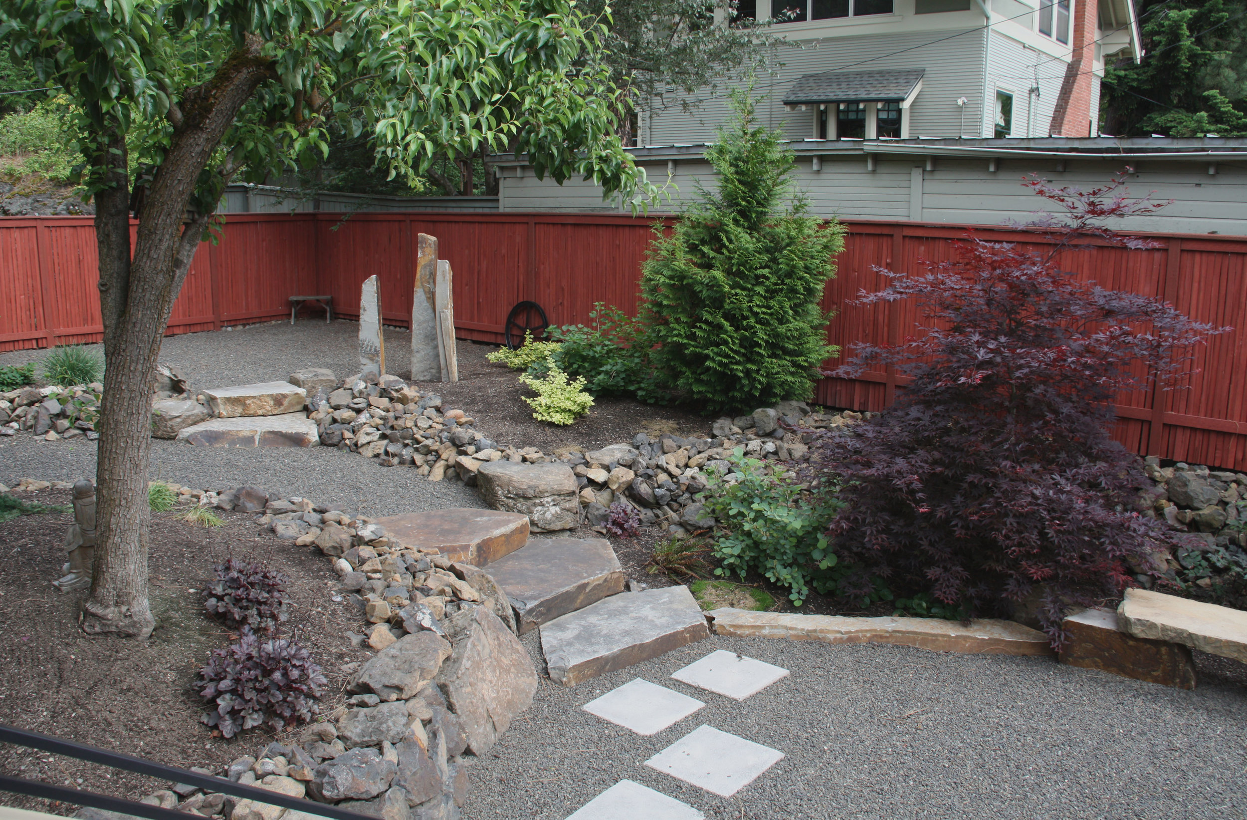 gravel path with stone steps