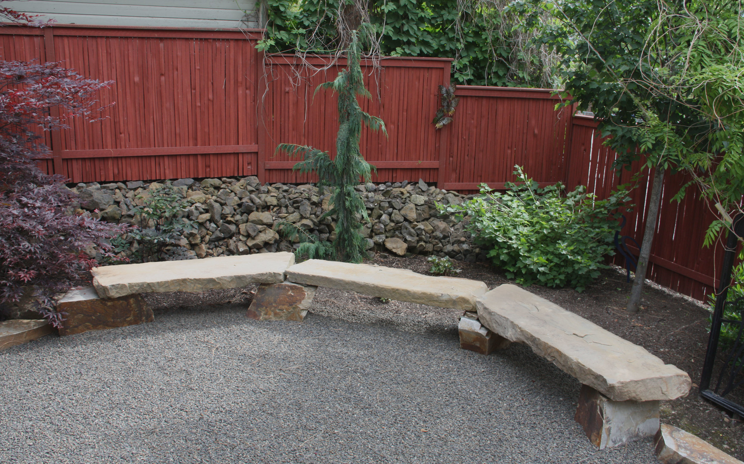 spokane landscaping stone bench