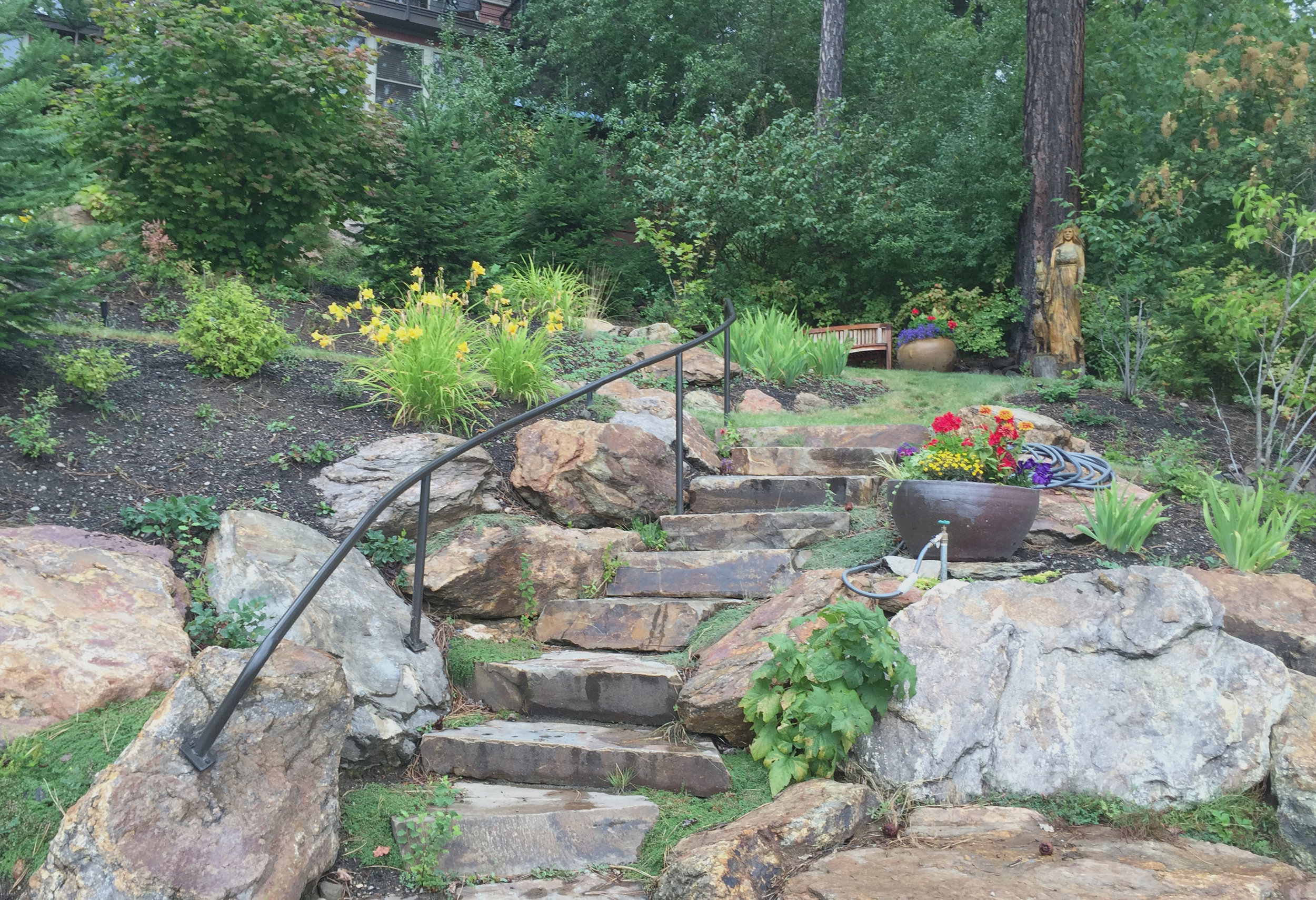lakefront retaining wall and stone steps