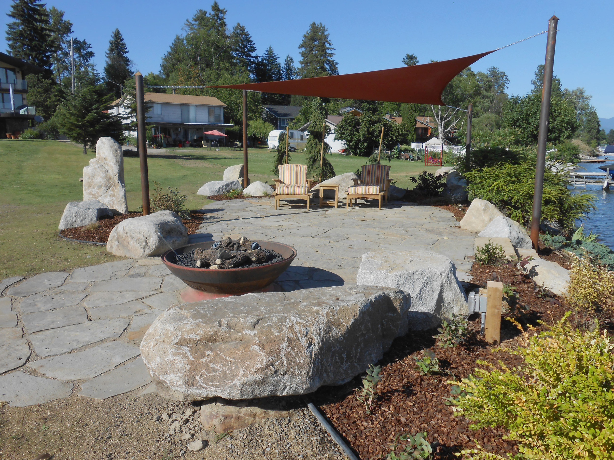 bench rocks and fire pit