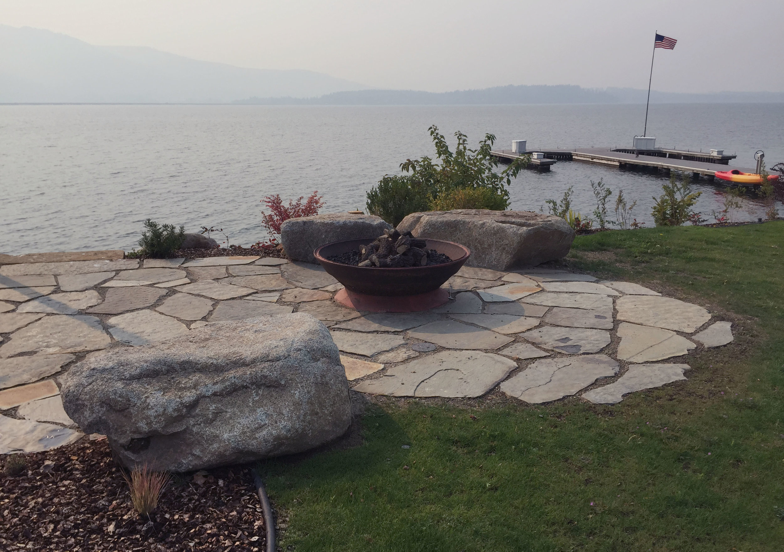 flagstone patio and bench rocks