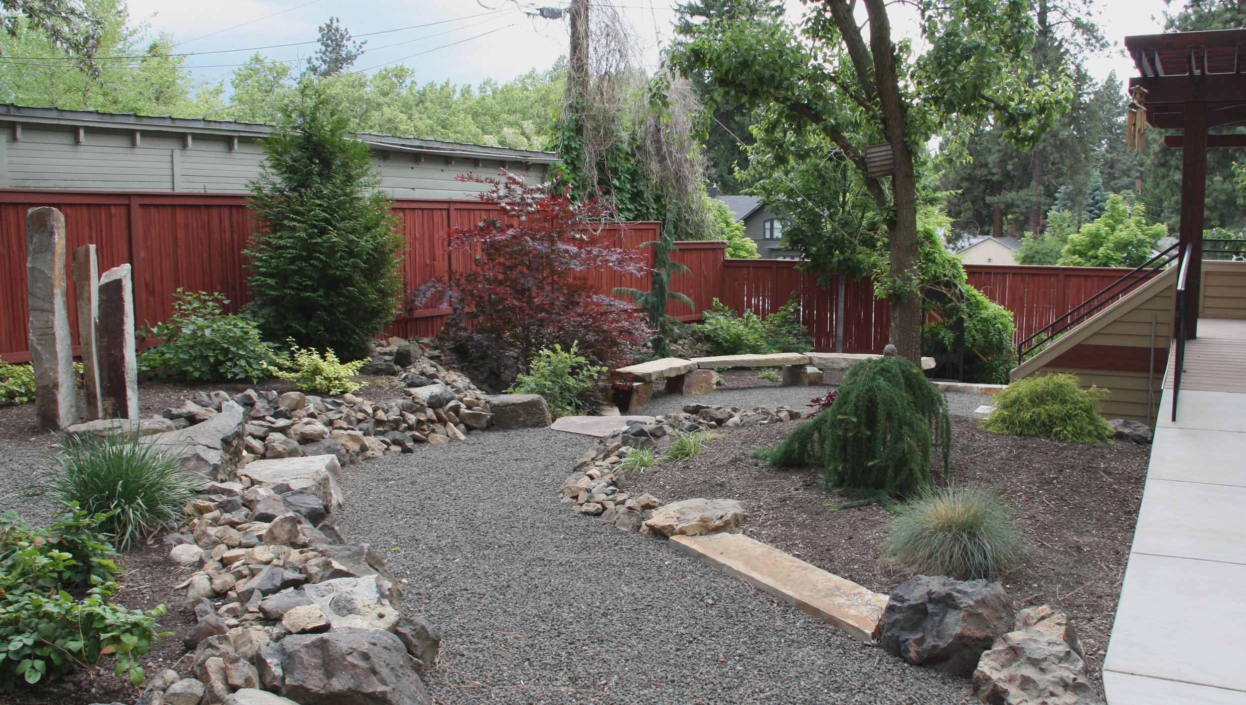 Native stone harvested during the landscape construction can be unsuitable around lawns.