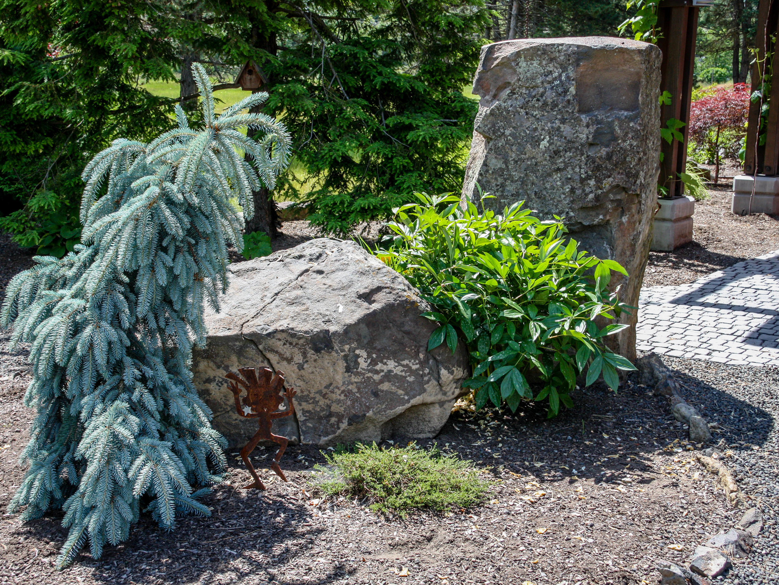 spokane northwest landscaping with boulders